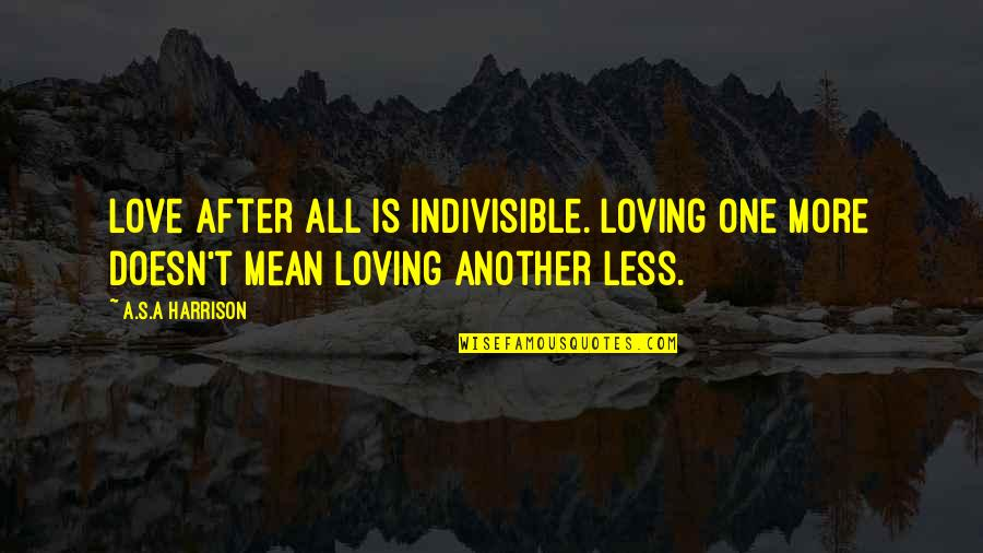 Love Doesn't Mean Quotes By A.S.A Harrison: love after all is indivisible. Loving one more