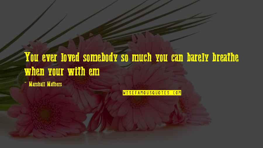 Love Em All Quotes By Marshall Mathers: You ever loved somebody so much you can