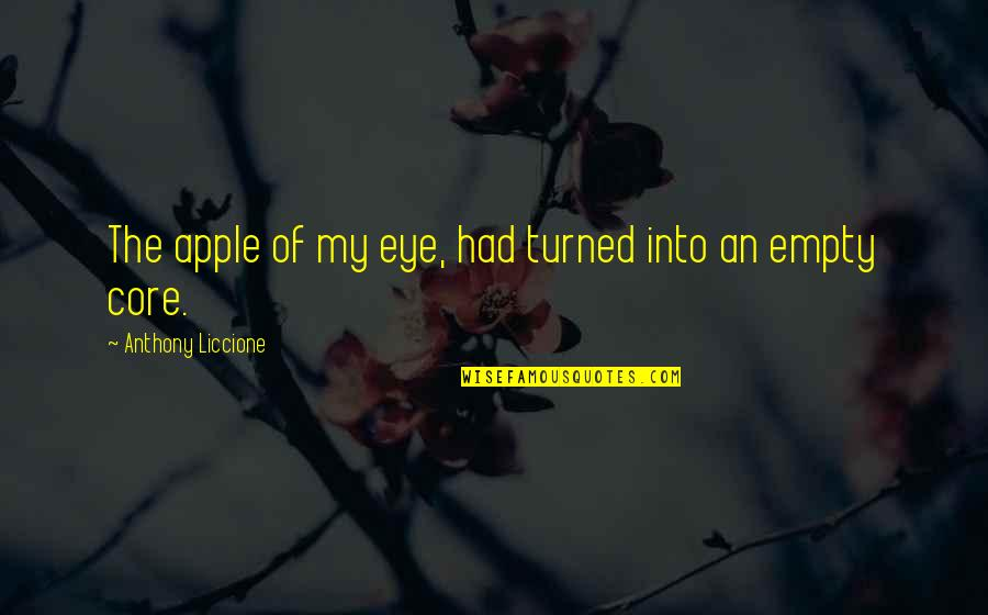 Love Faded Quotes By Anthony Liccione: The apple of my eye, had turned into