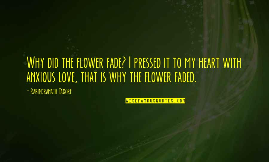 Love Faded Quotes By Rabindranath Tagore: Why did the flower fade? I pressed it