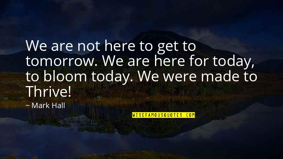 Love Feels Great Quotes By Mark Hall: We are not here to get to tomorrow.