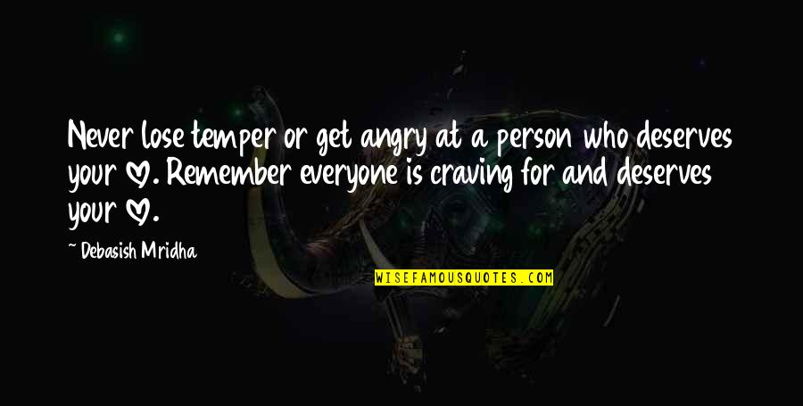 Love For Everyone Quotes By Debasish Mridha: Never lose temper or get angry at a