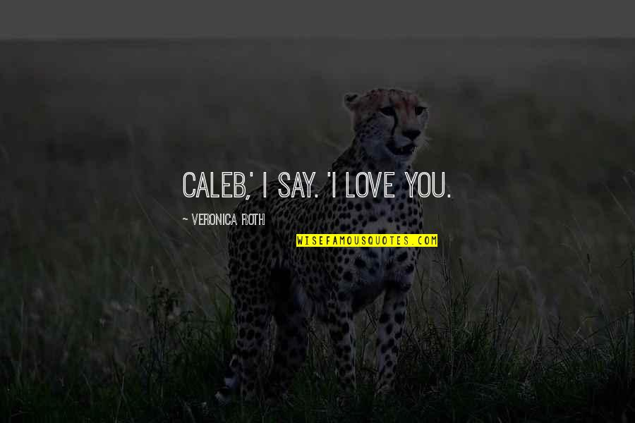 Love For Your Siblings Quotes By Veronica Roth: Caleb,' I say. 'I love you.