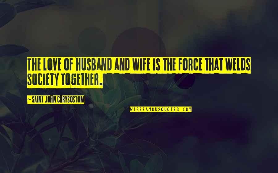 Love For Your Wife Quotes By Saint John Chrysostom: The love of husband and wife is the