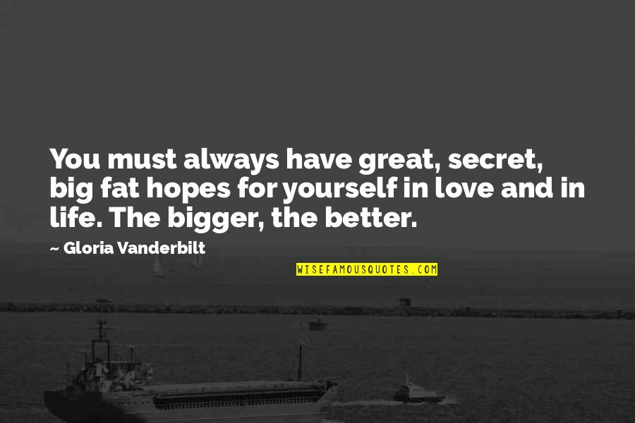 Love For Yourself Quotes By Gloria Vanderbilt: You must always have great, secret, big fat