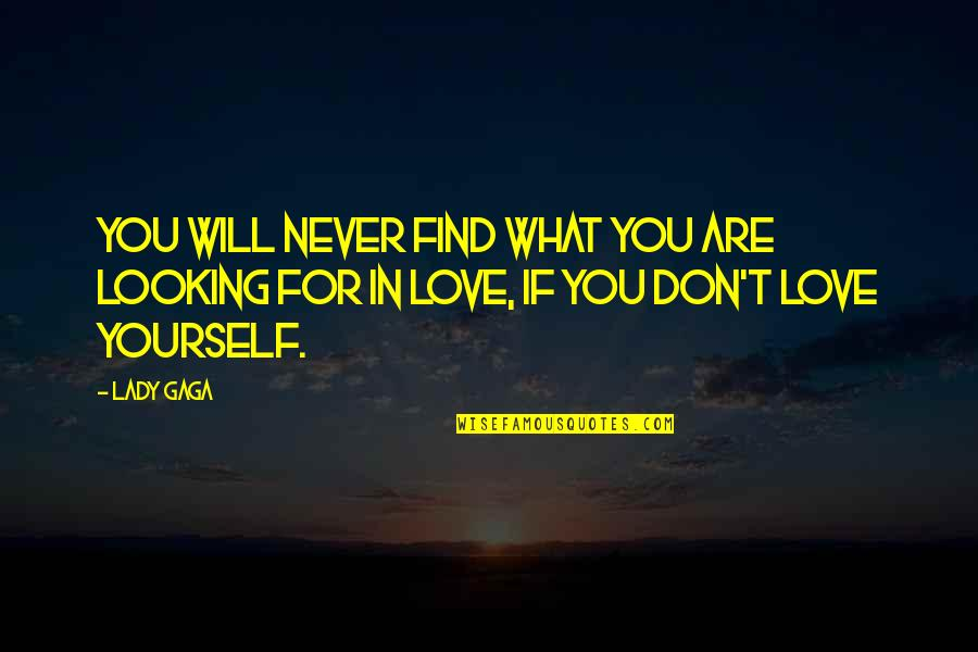 Love For Yourself Quotes By Lady Gaga: You will never find what you are looking