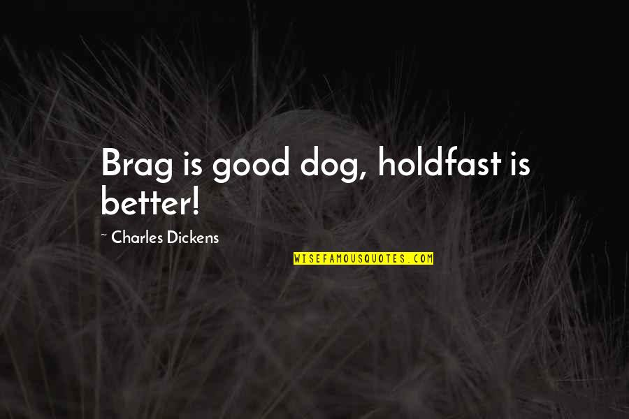 Love Gets Hard Quotes By Charles Dickens: Brag is good dog, holdfast is better!