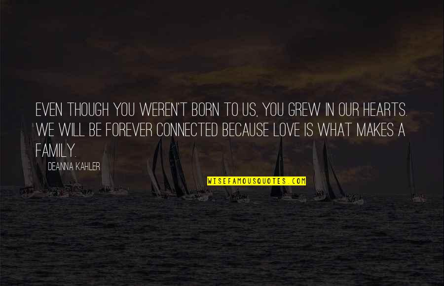 Love Hearts Quotes By Deanna Kahler: Even though you weren't born to us, you
