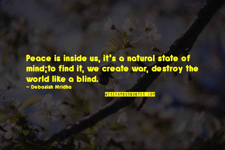 Love Hope Peace Happiness Quotes By Debasish Mridha: Peace is inside us, it's a natural state