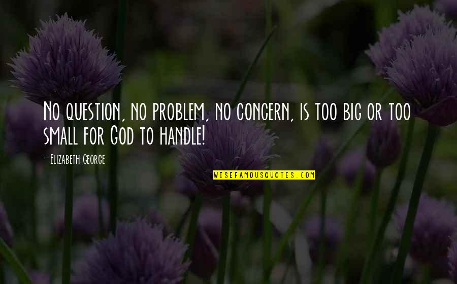 Love Hope Peace Happiness Quotes By Elizabeth George: No question, no problem, no concern, is too