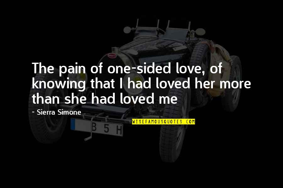 Love Hurting Quotes By Sierra Simone: The pain of one-sided love, of knowing that