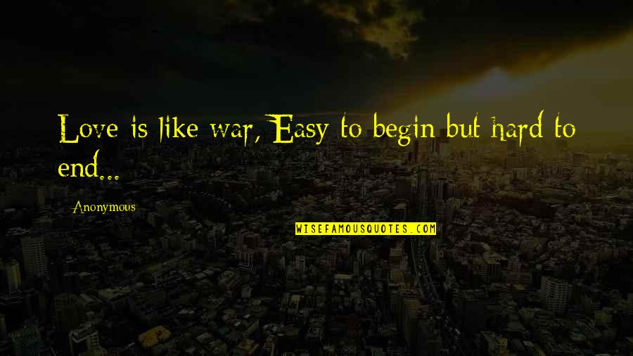 Love Is Like A War Quotes By Anonymous: Love is like war, Easy to begin but