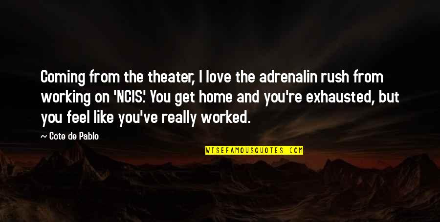 Love Is Like Home Quotes By Cote De Pablo: Coming from the theater, I love the adrenalin