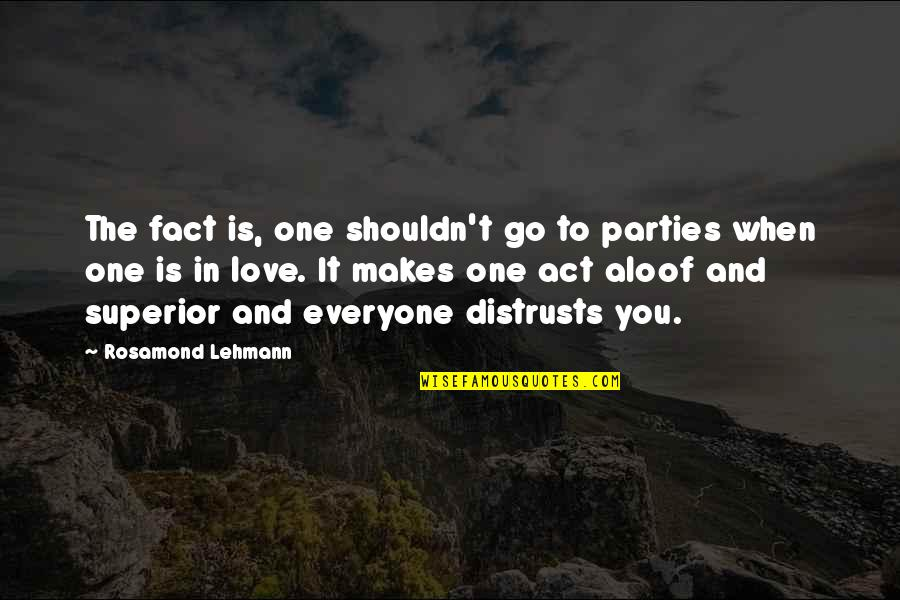 Love Is When You Quotes By Rosamond Lehmann: The fact is, one shouldn't go to parties