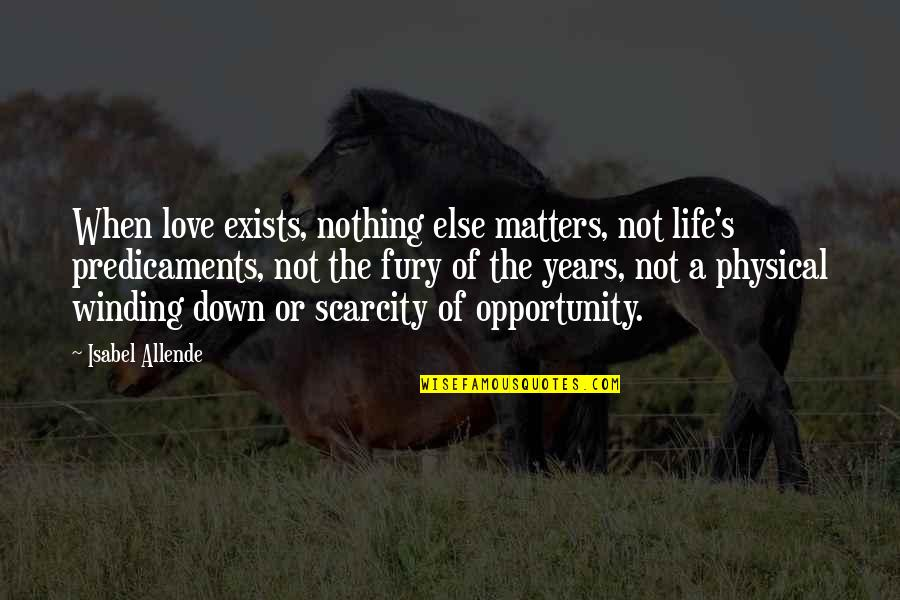 Love Isabel Allende Quotes By Isabel Allende: When love exists, nothing else matters, not life's