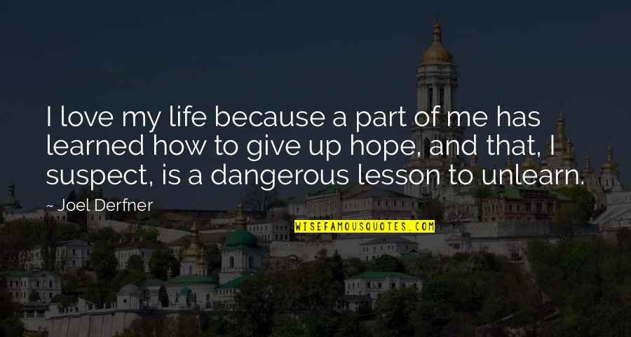 Love Lesson Learned Quotes By Joel Derfner: I love my life because a part of