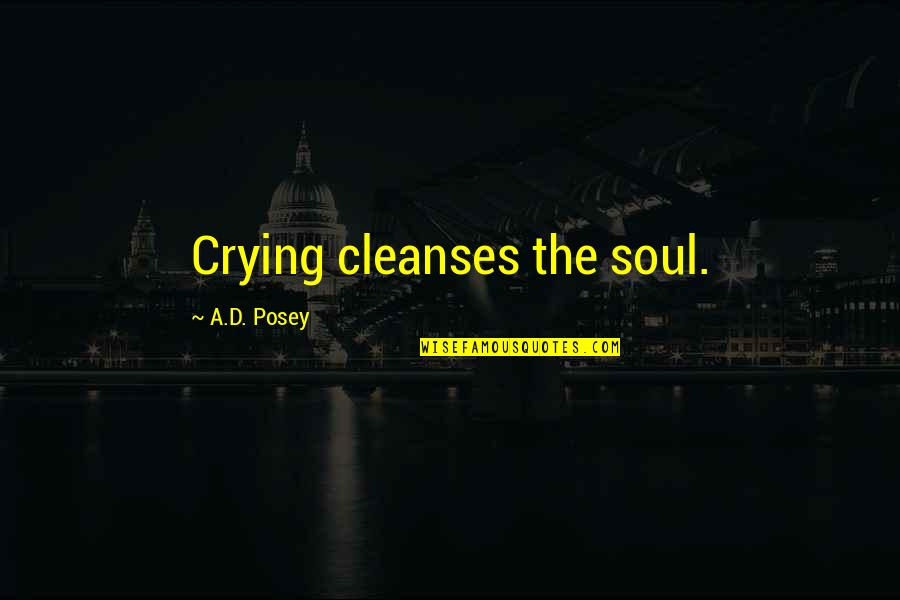 Love Light Quotes By A.D. Posey: Crying cleanses the soul.
