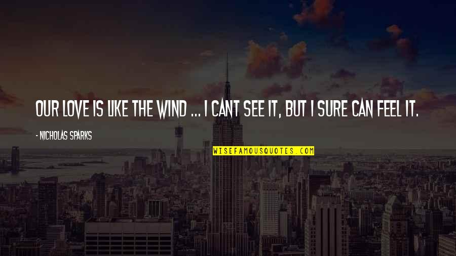Love Like A Wind Quotes By Nicholas Sparks: Our love is like the wind ... I