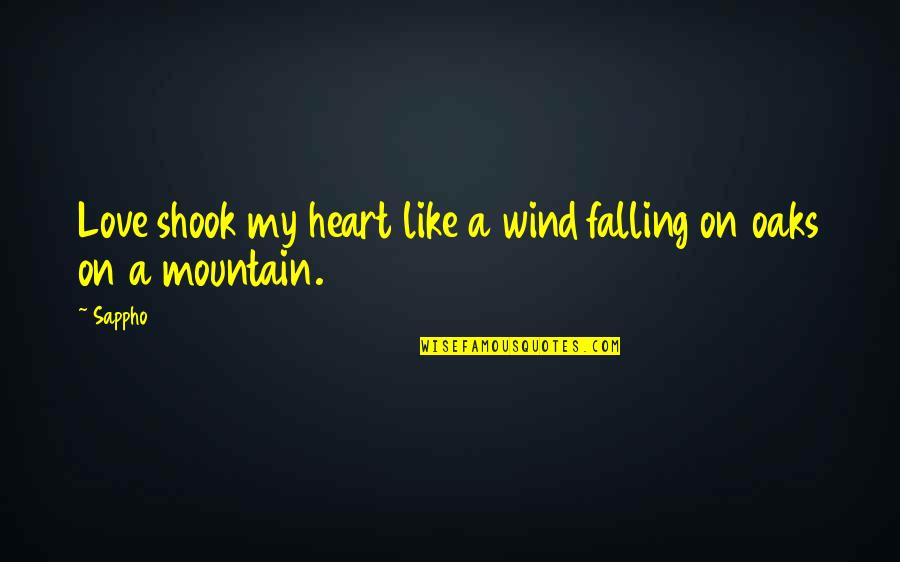 Love Like A Wind Quotes By Sappho: Love shook my heart like a wind falling