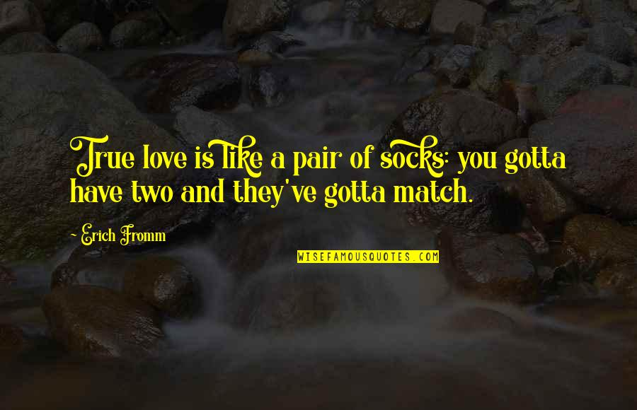 Love Match Quotes By Erich Fromm: True love is like a pair of socks: