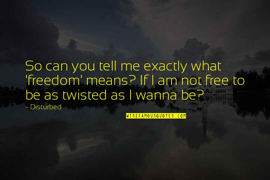 Love Means Compromise Quotes By Disturbed: So can you tell me exactly what 'freedom'