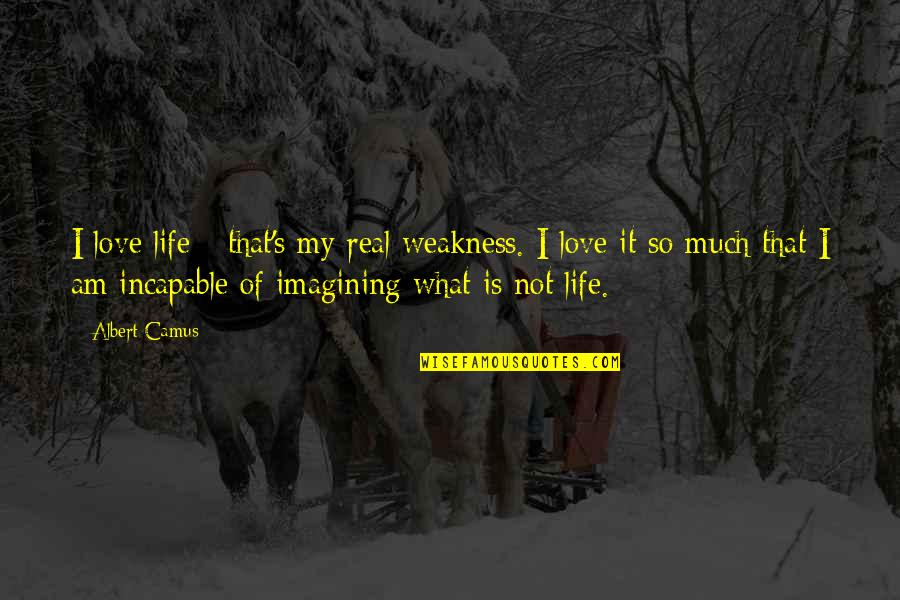 Love My Weakness Quotes By Albert Camus: I love life - that's my real weakness.