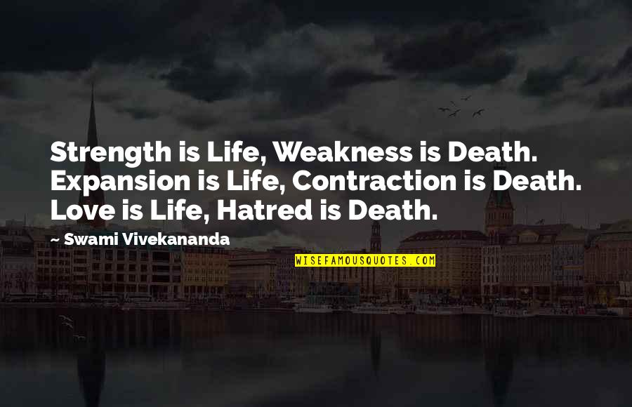 Love My Weakness Quotes By Swami Vivekananda: Strength is Life, Weakness is Death. Expansion is