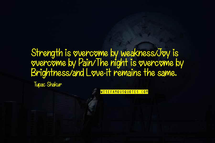 Love My Weakness Quotes By Tupac Shakur: Strength is overcome by weakness/Joy is overcome by