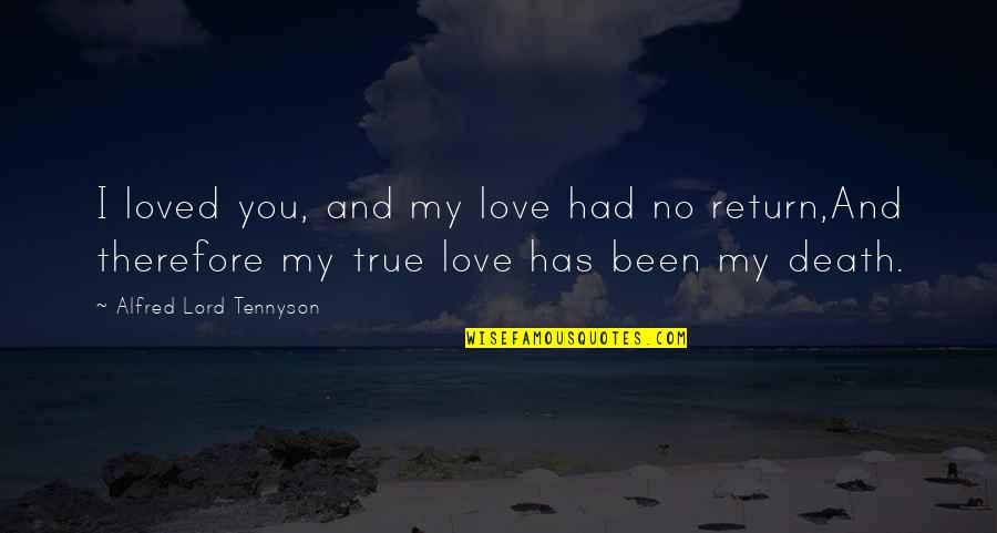 Love No Return Quotes By Alfred Lord Tennyson: I loved you, and my love had no
