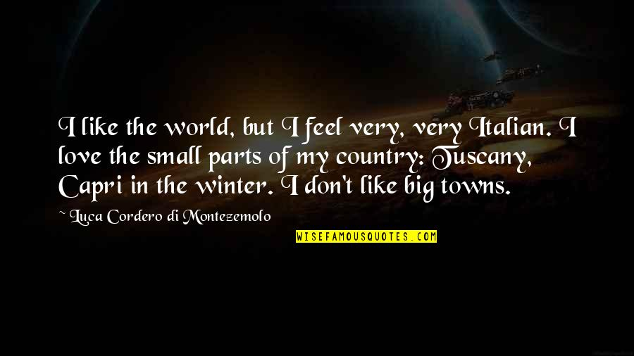 Love Of Country Quotes By Luca Cordero Di Montezemolo: I like the world, but I feel very,