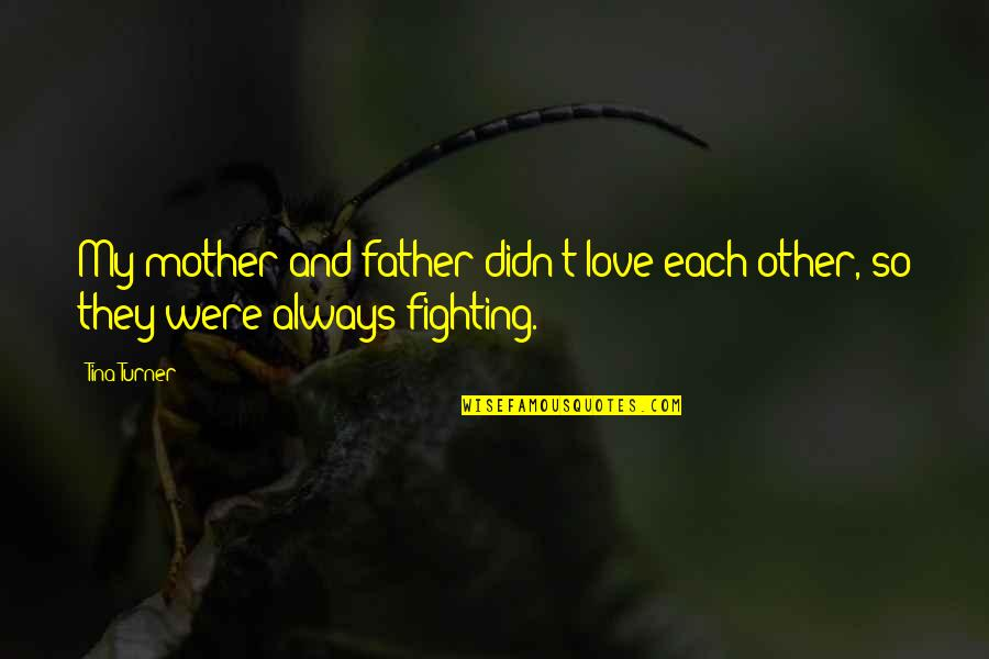 Love Of Your Mother Quotes By Tina Turner: My mother and father didn't love each other,