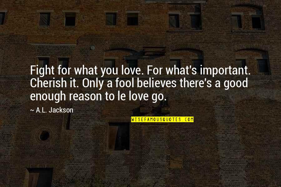 Love Only For You Quotes By A.L. Jackson: Fight for what you love. For what's important.