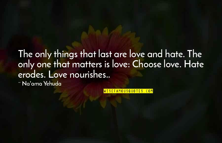 Love Only One Quotes By Na'ama Yehuda: The only things that last are love and
