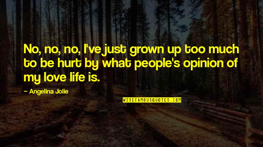 Love Opinion Quotes By Angelina Jolie: No, no, no, I've just grown up too