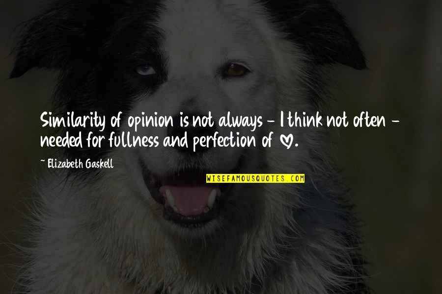 Love Opinion Quotes By Elizabeth Gaskell: Similarity of opinion is not always - I