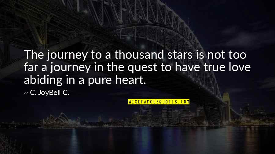 Love Quest Quotes By C. JoyBell C.: The journey to a thousand stars is not