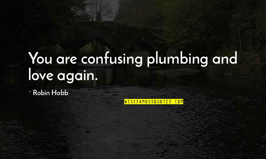 Love Quest Quotes By Robin Hobb: You are confusing plumbing and love again.