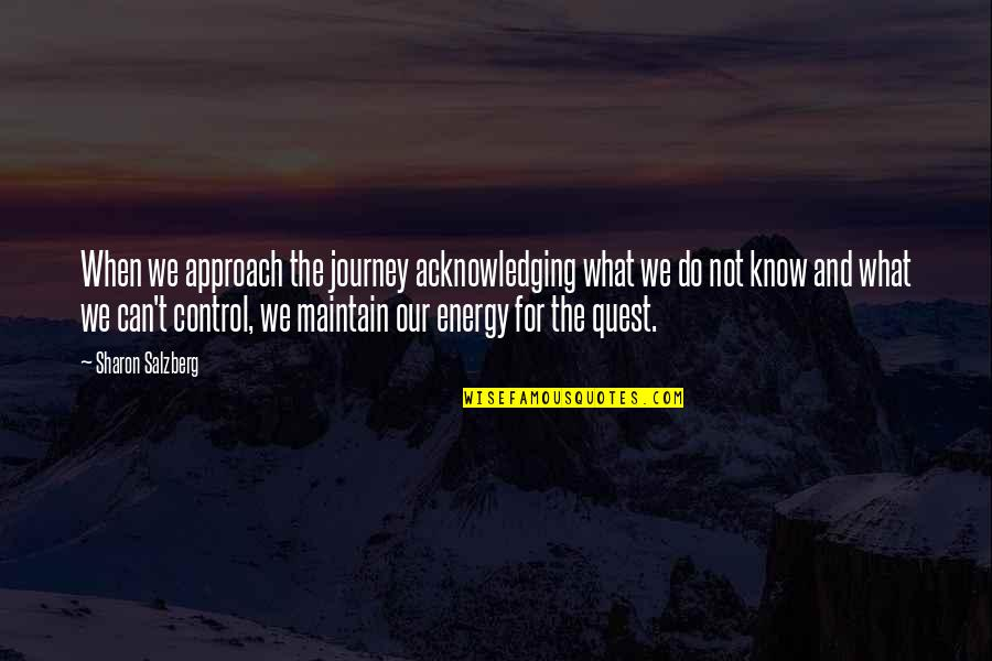 Love Quest Quotes By Sharon Salzberg: When we approach the journey acknowledging what we