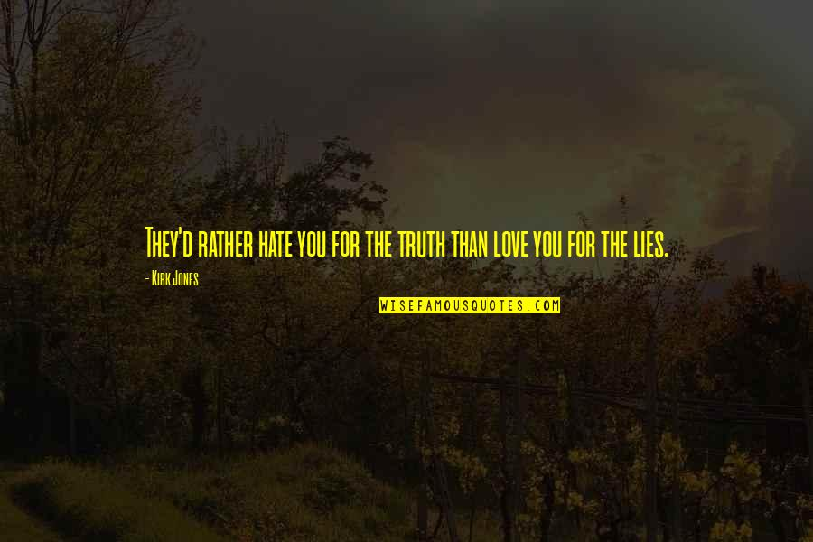 Love Rather Than Hate Quotes By Kirk Jones: They'd rather hate you for the truth than