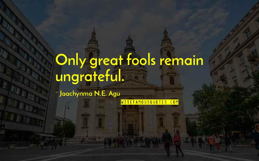 Love Remain Quotes By Jaachynma N.E. Agu: Only great fools remain ungrateful.
