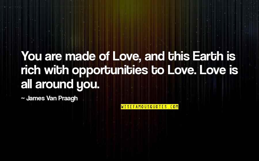 Love Rich Quotes By James Van Praagh: You are made of Love, and this Earth