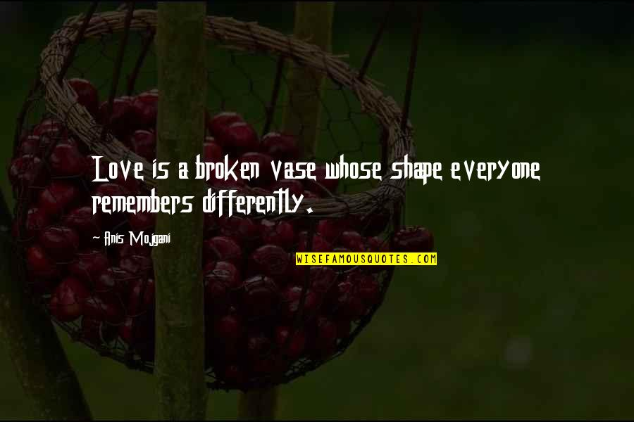 Love Shape Quotes By Anis Mojgani: Love is a broken vase whose shape everyone