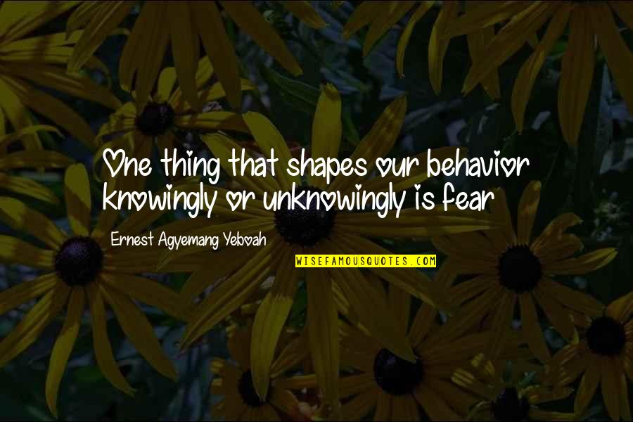 Love Shape Quotes By Ernest Agyemang Yeboah: One thing that shapes our behavior knowingly or