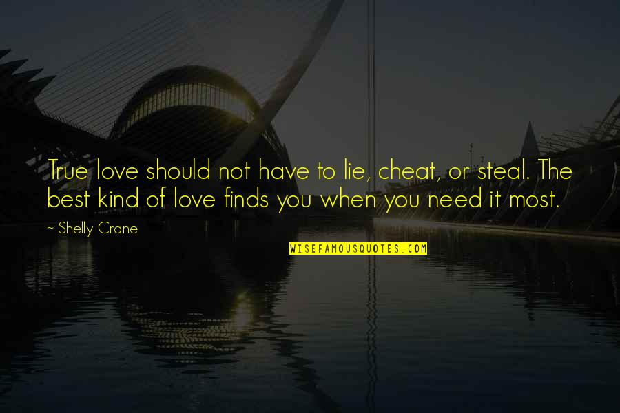 Love Significance Quotes By Shelly Crane: True love should not have to lie, cheat,