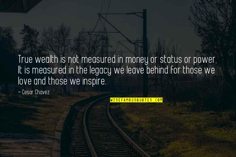 Love Status Quotes By Cesar Chavez: True wealth is not measured in money or