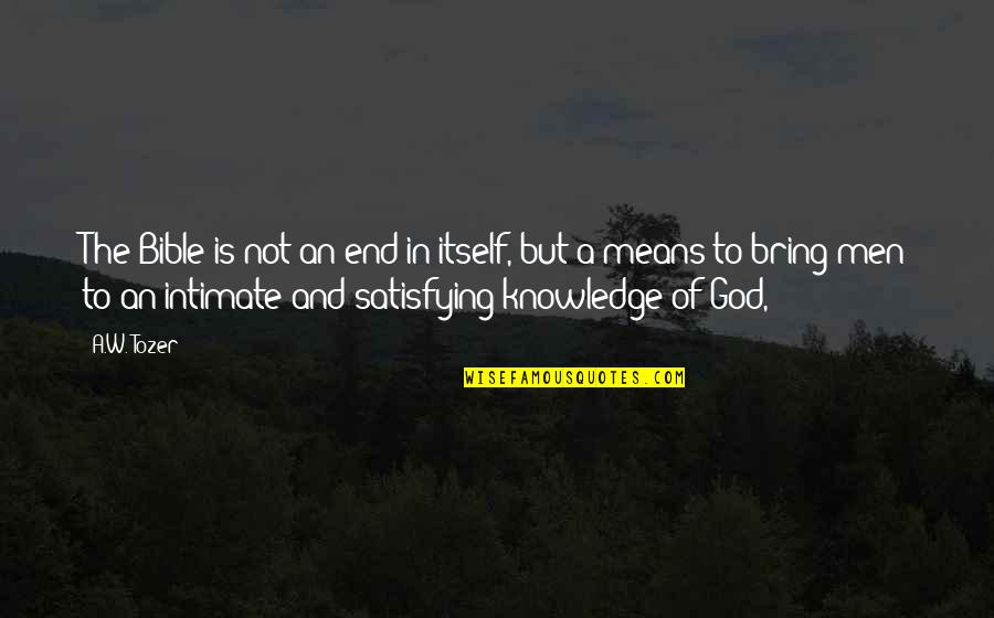 Love Stock Quotes By A.W. Tozer: The Bible is not an end in itself,