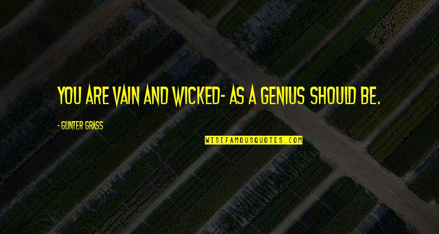 Love Stock Quotes By Gunter Grass: You are vain and wicked- as a genius