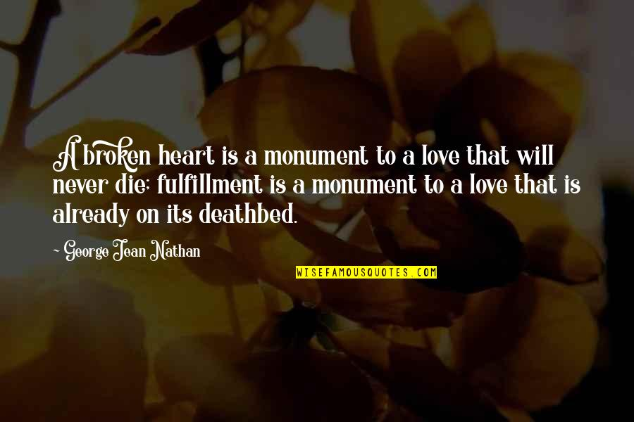 Love That Broken Quotes By George Jean Nathan: A broken heart is a monument to a