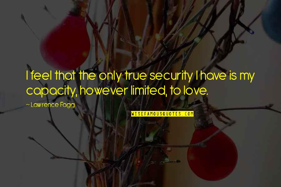 Love That Is True Quotes By Lawrence Fagg: I feel that the only true security I