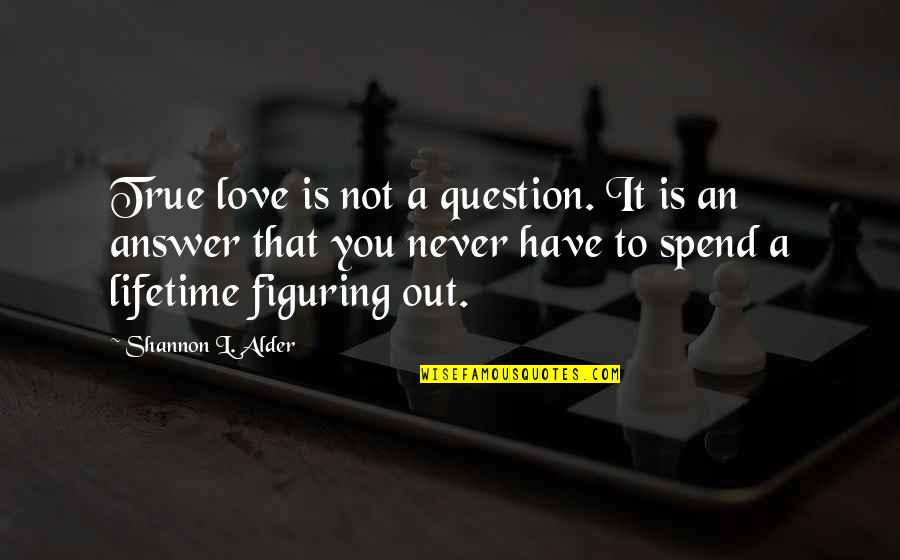 Love That Is True Quotes By Shannon L. Alder: True love is not a question. It is